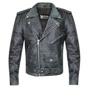 Classic Distressed Black With Grey Leather Jacket