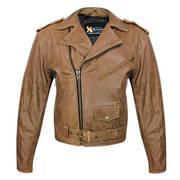 Кожаная мотокуртка Classic Distressed Brown Leather Jacket