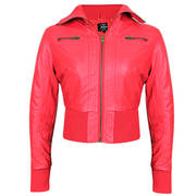 Active Ribbed Bomber Light Red Casual Jacket