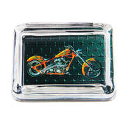 Orange Chopper Glass Ashtray