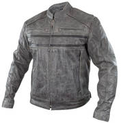 Sigma Distressed Grey Leather Motorcycle Jacket