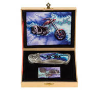 Motorcycle Blue Arrow Knife and Lighter Set