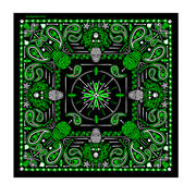 Green Paisley Skulls Bandana