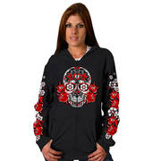Colored Sugar Skull Hooded Zip-Up Sweatshirt