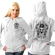 Sugar Skull Lightweight Slubby Hooded Sweatshirt