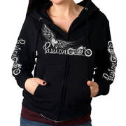 Passion Wings Ladies Crop Cut Zip Up Hooded Sweat Shirt