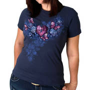 Футболка Леди Байкер Navy Heart Lock Ladies T-Shirt