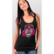 Текстильная майка / топ Color Sugar Skull Ladies Thick Strap Tank Top