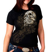 Banner Skull Full Cut Ladies Tee