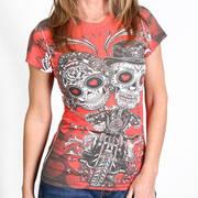 Футболка с изображением черепов и коротким рукавом Sugar Couple Sublimation Ladies T-Shirt