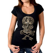 Skull and Lock Key Scoop Neck T-Shirt