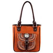 Concealed Carry Handbag-Brown-embellished pocket
