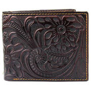 Аксессуар Floral & Leaf Tooled Leather Bi-fold Wallet