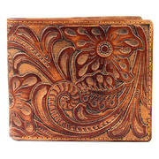 Кошелек / бумажник Floral & Leaf Tooled Light Leather Bi-fold Wallet