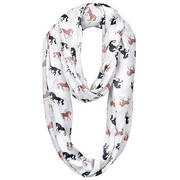 Шарф Infinity Scarf - Horses - White w/Black & Brown