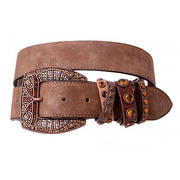 Leather Belt - Rhinestone Buckle Brown