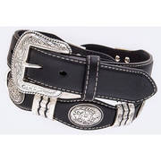 Black leather belt, conchos