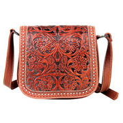 Tooled Messenger Bag-Brown