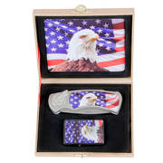 Eagle & USA Flag Knife and Lighter Set