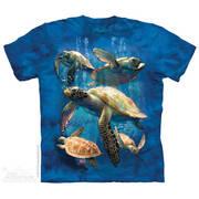 Футболка с изображением из водного мира и коротким рукавом Sea Turtle Family
