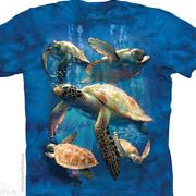 Футболка с картинкой рептилии/амфибии Sea Turtle Family