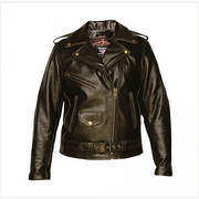 LADIES RETRO BROWN MOTORCYCLE JACKET