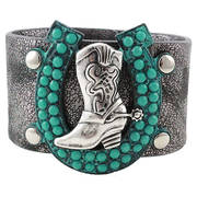 Браслет Bracelet Black/shimmery strap Boot/Turquoise adjustable