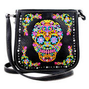 Сумка Sugar Skull Crossbody Messenger Bag in Black