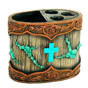 Для Дома Resin Turquoise Cross Toothbrush Holder