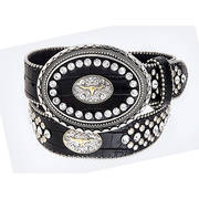 Ремень Black Rhinestone Leather Belt/Buckle