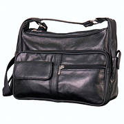 Сумка Black Leather 9 Pocket Purse with 6 Zippers