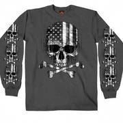 Charcoal Long Sleeve Flag Skull Shirt