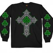 Black Long Sleeve Celtic Cross Shamrock