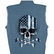 Flag Skull Sleeveless Denim