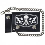 Аксессуар Black Leather Trifold RX Skull Wallet with Chain