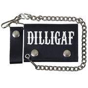 Black Leather Trifold DILLIGAF Wallet with Chain