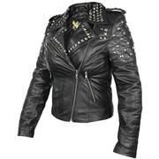 Womens Classic Leather Rebel Stud Jacket