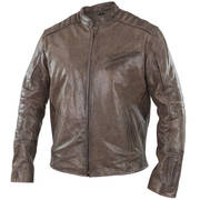 Omega Men's Distressed Brown Leather Motorcycle Jacket