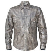 Кожаная рубашка Urban Armor Comfort Grey Leather Shirt Gunmetal Snaps