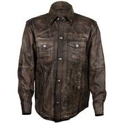 Кожаная рубашка Distressed Brown Leather Shirt with Buffalo Buttons