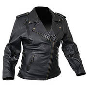 Ladies Classic Cowhide Motorcycle Leather Jacket