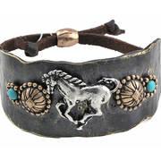 Браслет Bracelet Cuff - Galloping Horse Copper/Turq
