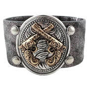 Браслет Bracelet Black/silver strap crossed Pistols- adjustable
