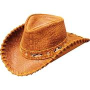 Кожаная шляпа Austrailian Croc print FG Cowhide-Chestnut