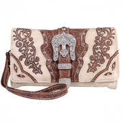 Сумка Beige Studded and Embroidered Wrist Purse