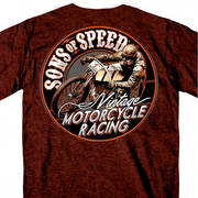 Футболка для байкеров Official Sons of Speed Vintage Motorcycle Racing Russet
