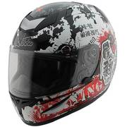 Мотошлем Grenade Chaos Black White and Red Helmet
