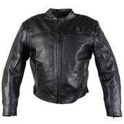 'Hell Rider' Men's Black Leather Heated Motorcycle Jacket