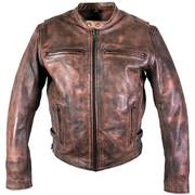 Кожаная мотокуртка Uproar' Distress Brown Premium Leather Motorcycle Jacket with Gun Pocket