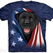 Футболка с собакой Patriotic Black Lab Pup